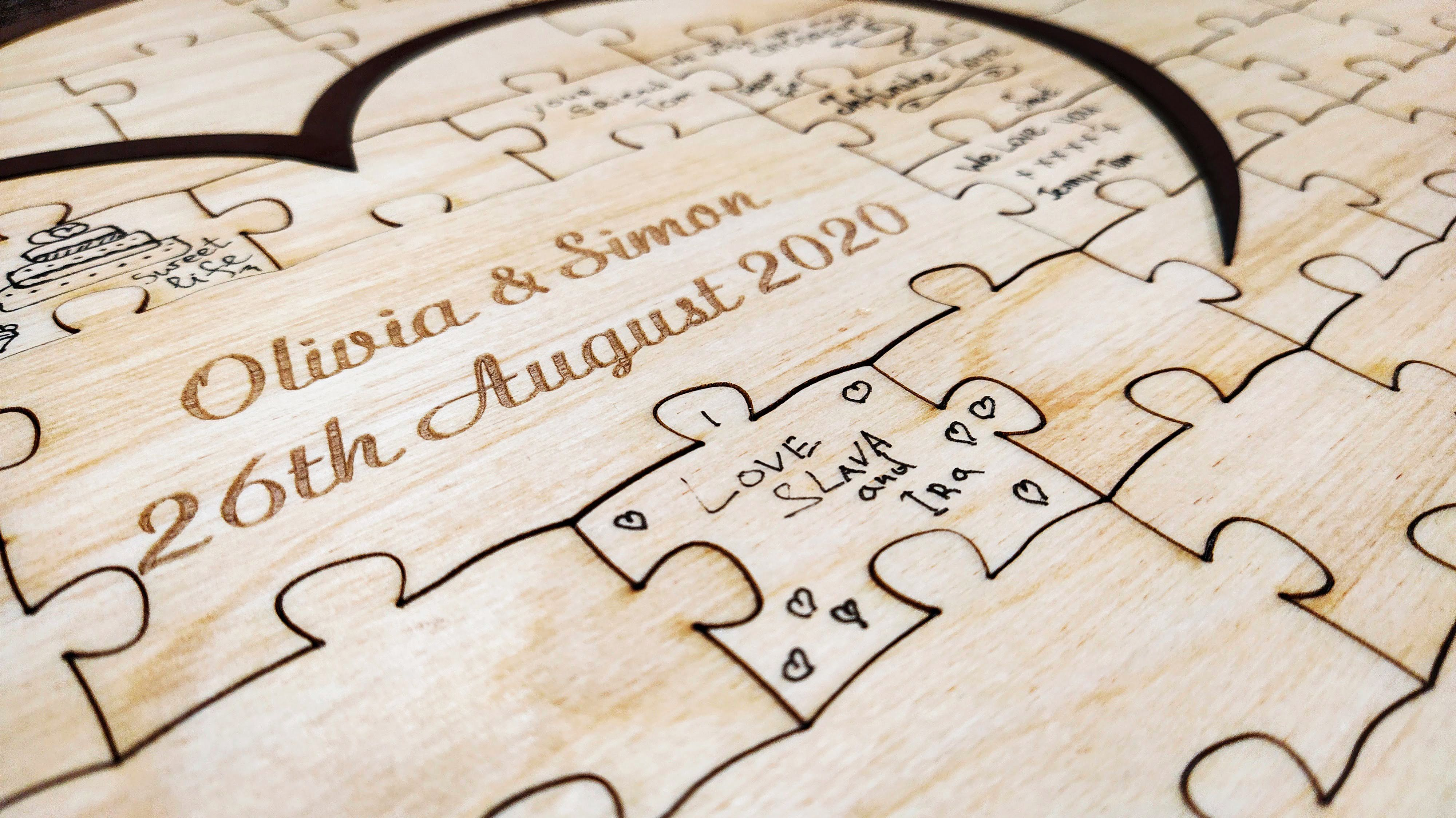 Rustic Wedding Guest Book Alternative Personalized Guestbook Puzzle Wood Sign