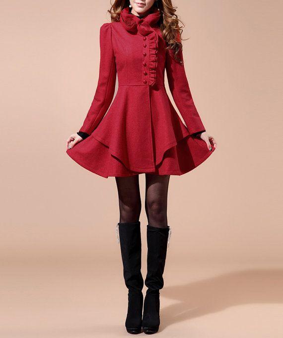 Black/ Red wool women coat lace women dress by happyfamilyjudy