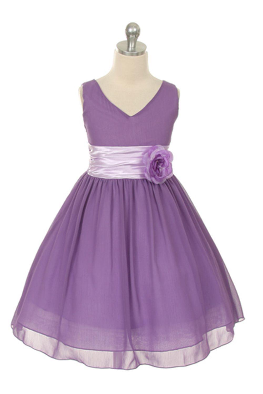 Lilac Yoryu Chiffon Double V-Neck Flower Girl Dress | Galia ...