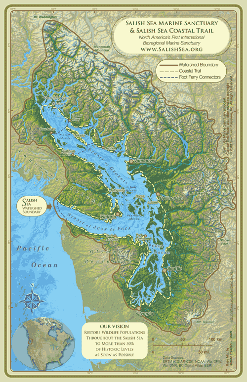 Salish Sea Marine Sanctuary Map | Inspiration | Map diagram, Map