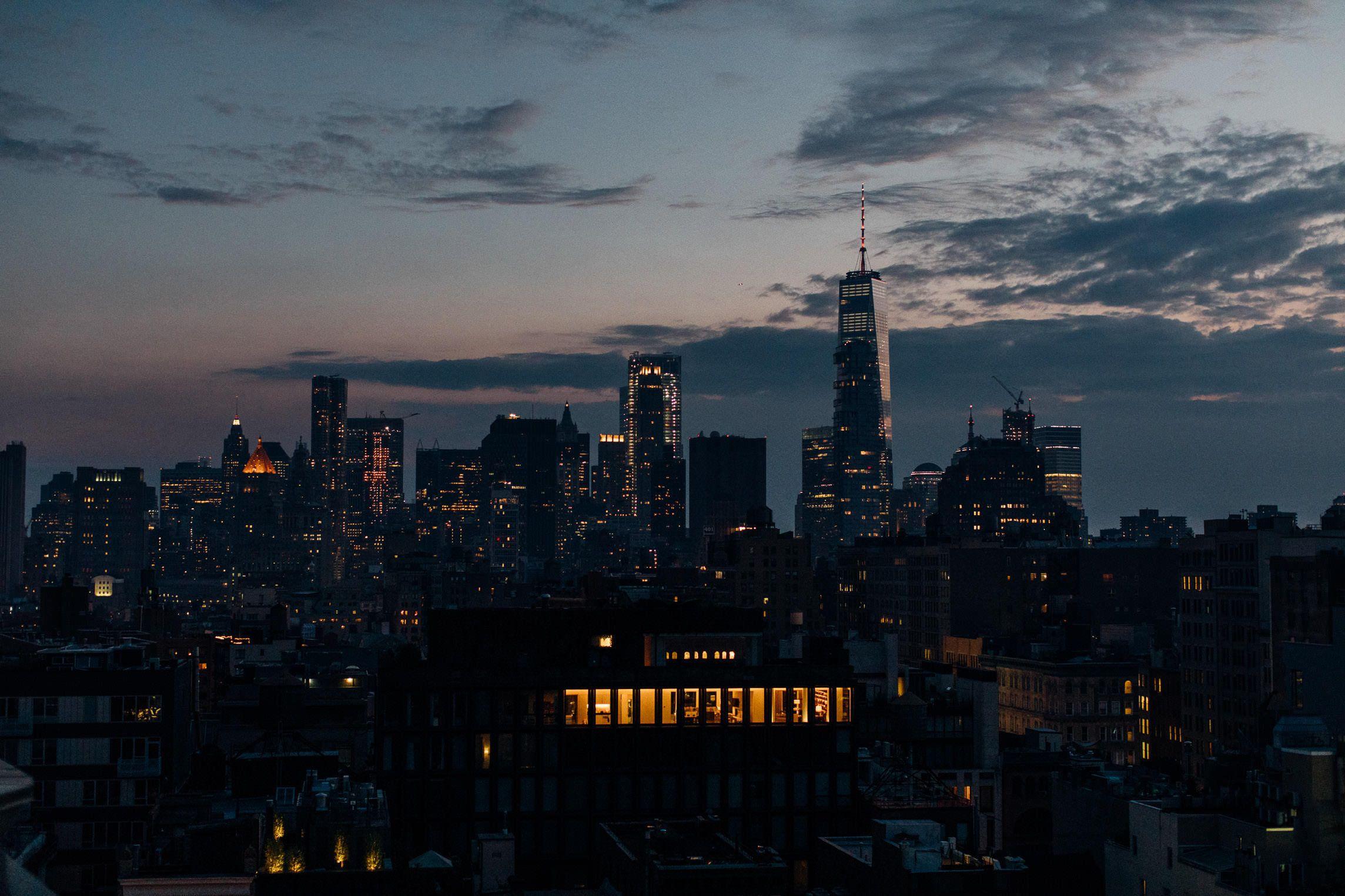Downtown New York City Skyline at Sunset NYC Sunset  Fine | Etsy