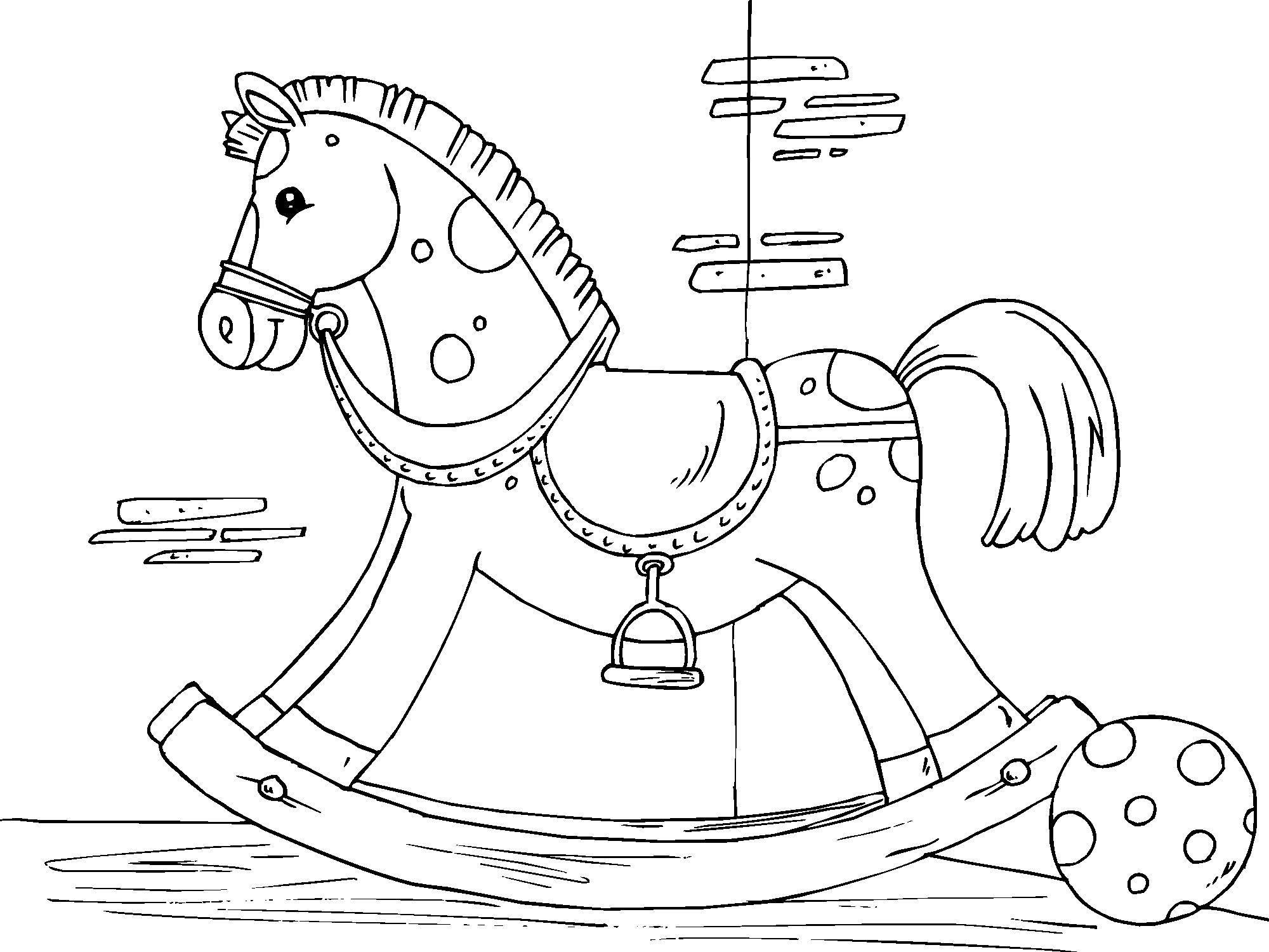 Лошадка детская картинка раскраска