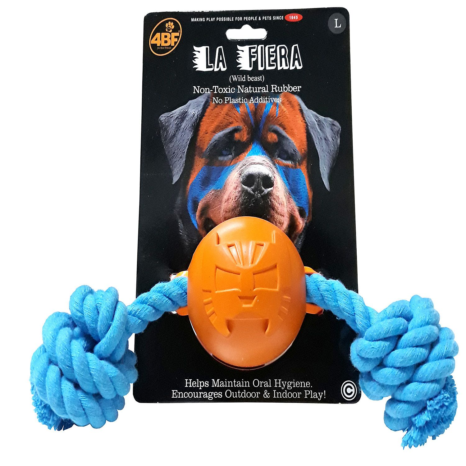 4bf Beast Rubber Ball With Rope Dog Toy Large Dog Toys Wild
