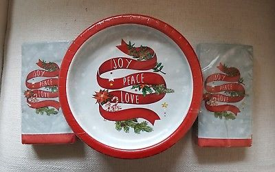 Holiday Party for 40 Paper Plates Napkins Love Peace Joy New Years & Holiday Party for 40 Paper Plates Napkins Love Peace Joy New Years ...