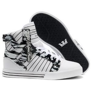 Supra Shoes Skytop Leather All Black High Tops for Men