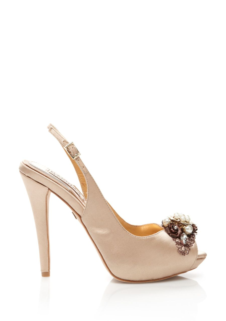 Anita Satin peep-toe pump; Jewel-encrusted toe accent; Almond toe with platform; Adjustable ankle strap with open heel; Satin-covered heel; Dustbag included PumpWomen #Shoes