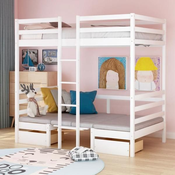 Harper Bright Designs White Multifunctional Bunk Bed With Desk Sm000099aak The Home Depot In 2020 Bunk Bed With Desk Twin Loft Bed Loft Bed