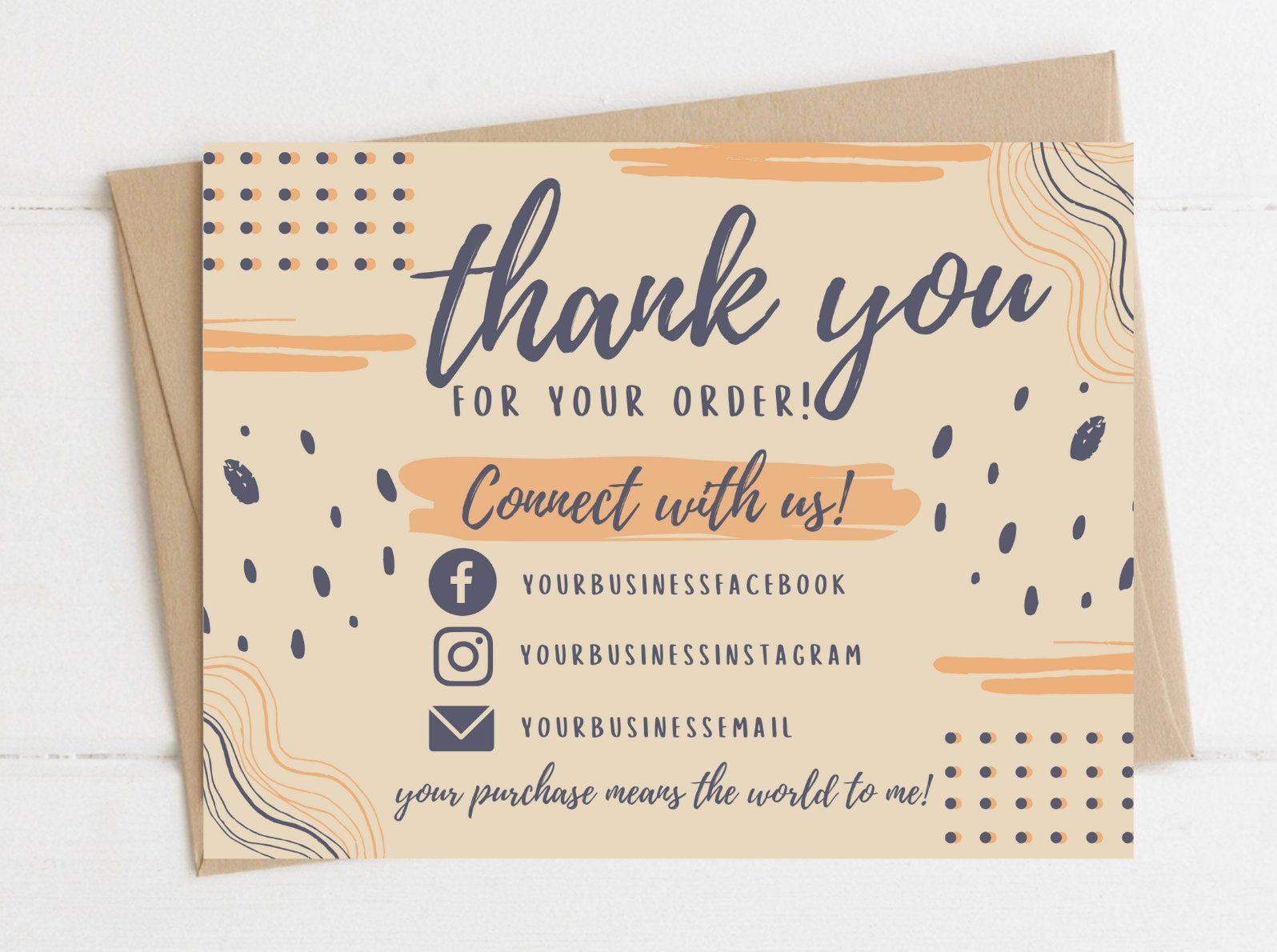 Instant Download Thank You Card Editable And Printable Thank You Cards Thank You Card For Business Personalized Thank You Di 2020 Kartu Nama Kartu Nama Bisnis Kartu