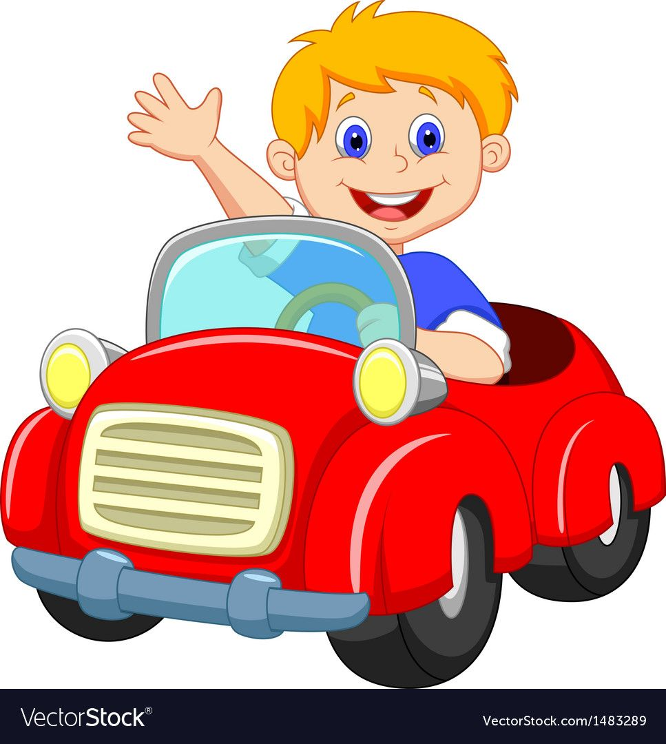Boy Cartoon In The Red Car Vector Image On With Images Clipart