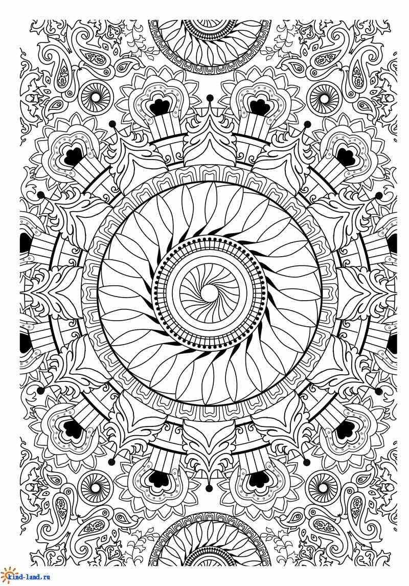 Сложные раскраски для взрослых Mandala Coloring pages for ...