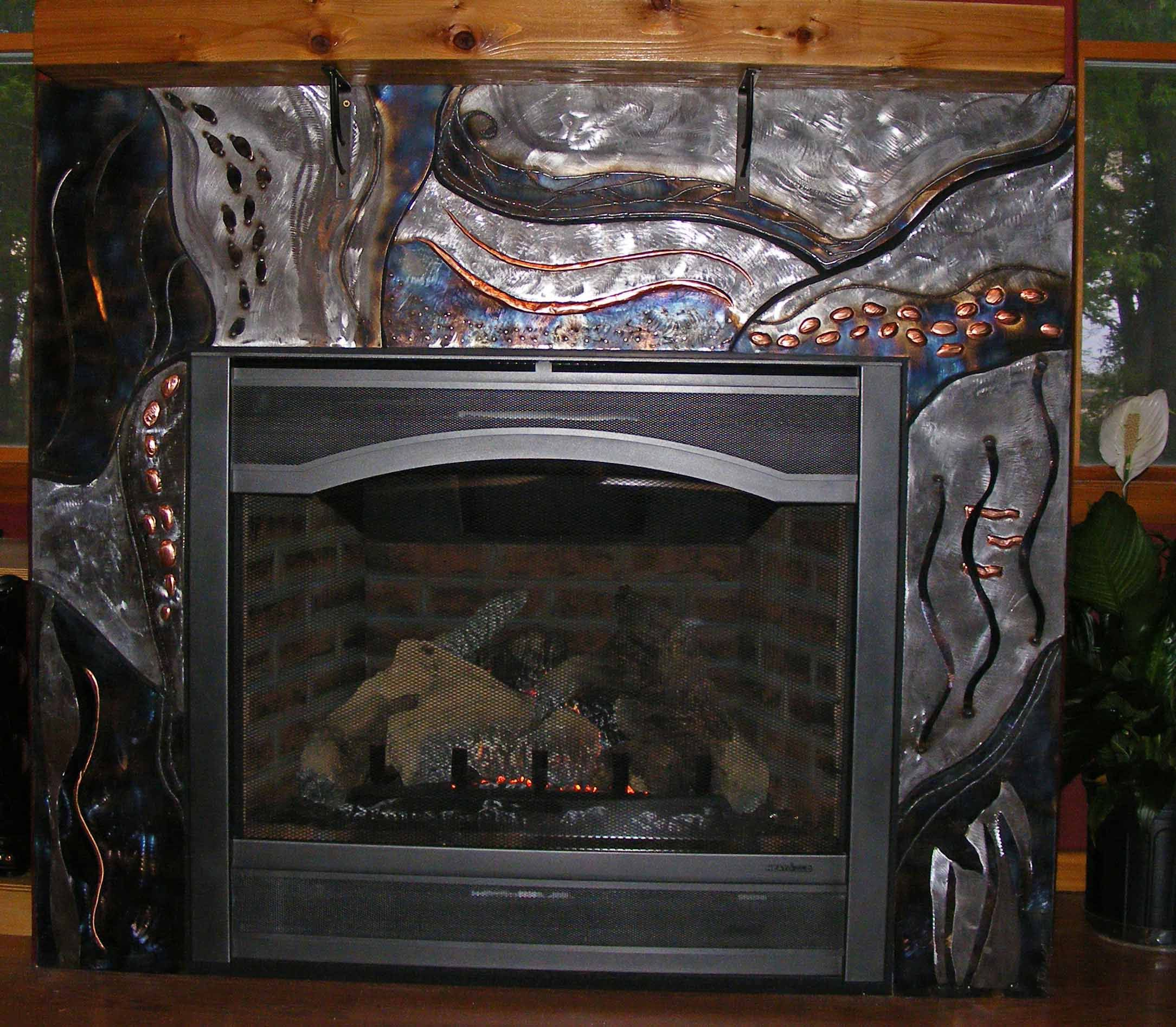 steel and copper metal fireplace surround snowfire studio art