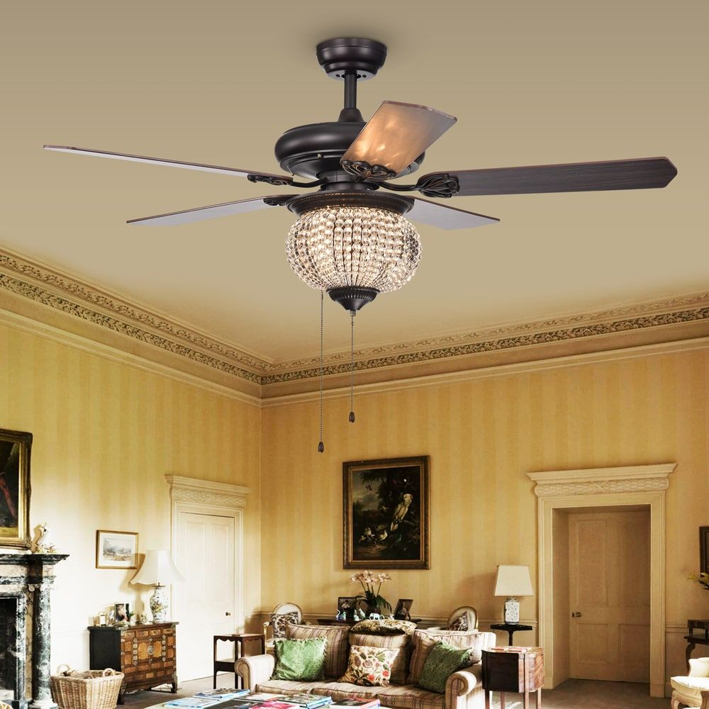 Priteen 3 light crystal bead 5 blade 52 inch brown ceiling fan 3 warehouse of tiffany priteen 3 light crystal bead 5 blade 52 inch ceiling fan aloadofball Images