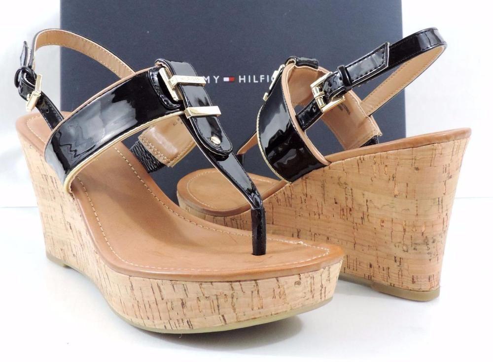 Women's Tommy Hilfiger MAREE Platform Wedge Thong Sandals Black Multi Size 8 #TommyHilfiger #PlatformsWedges