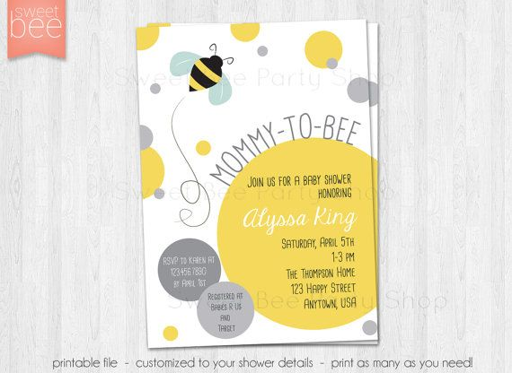 Bee Baby Shower Invitation   Mommy To Bee Invitation   Baby Sprinkle    Bumble Bee