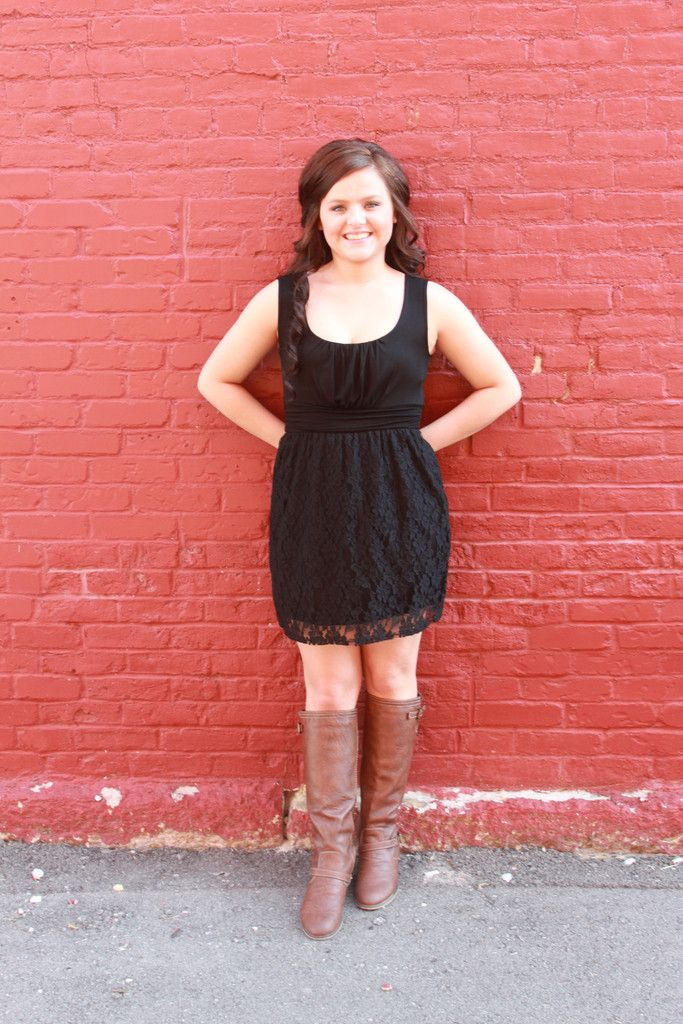 Black Lace Dress with different boots. Those boots are ugly