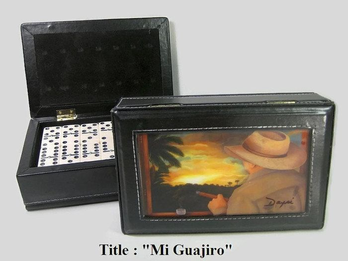 REDUCE PRICE Mother' Day Gift !!Exclusive Dominoes Set Double Six w/Artwork in Leather Case. - $48.00 USD