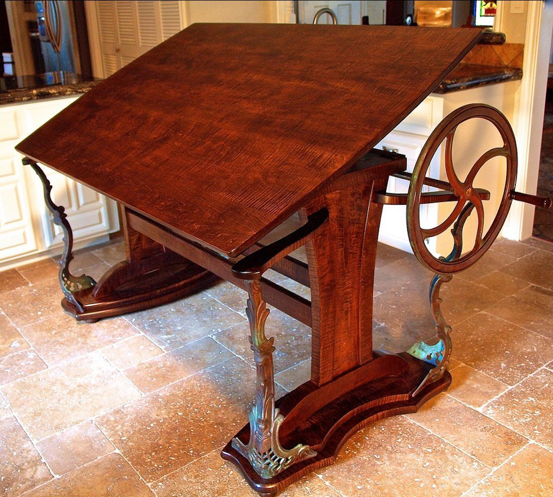 Custom handmade steampunk style drafting table antique