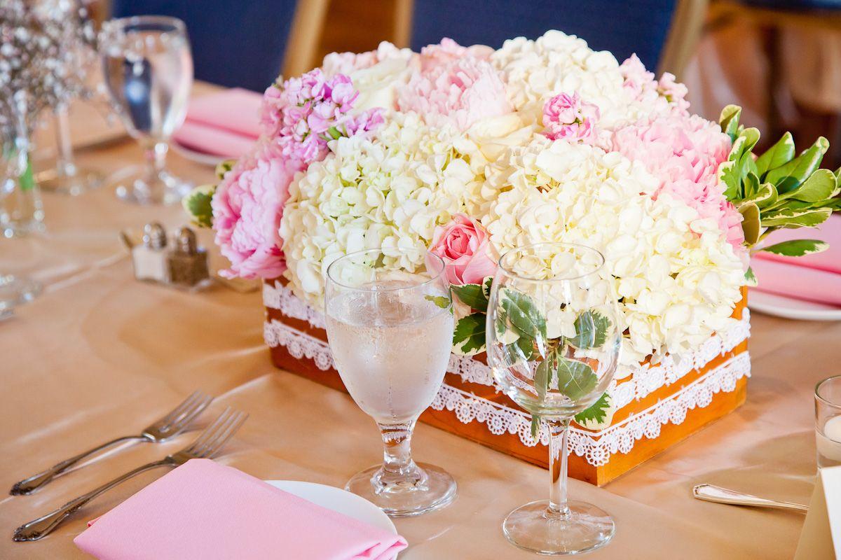 Wedding Centerpiece Vintage Wooden Box Pearl Blush Pastel