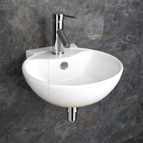 Wall Mounted White Round Modern Bathroom Sink 400mm x ...