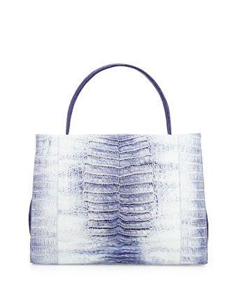 Wallis Tie-Dye Crocodile Tote Bag, Blue Multi by Nancy Gonzalez at Bergdorf Goodman.