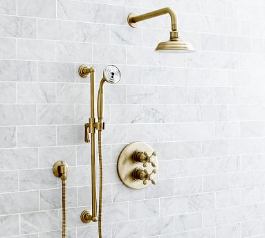 Langford Thermostatic Cross Handle Shower With Hand Held Shower