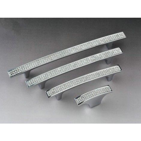 Dresser Pull Drawer Pulls Handles Crystal Glass Rhinestone / Cabinet Door  Handle Metal / Clear Silver