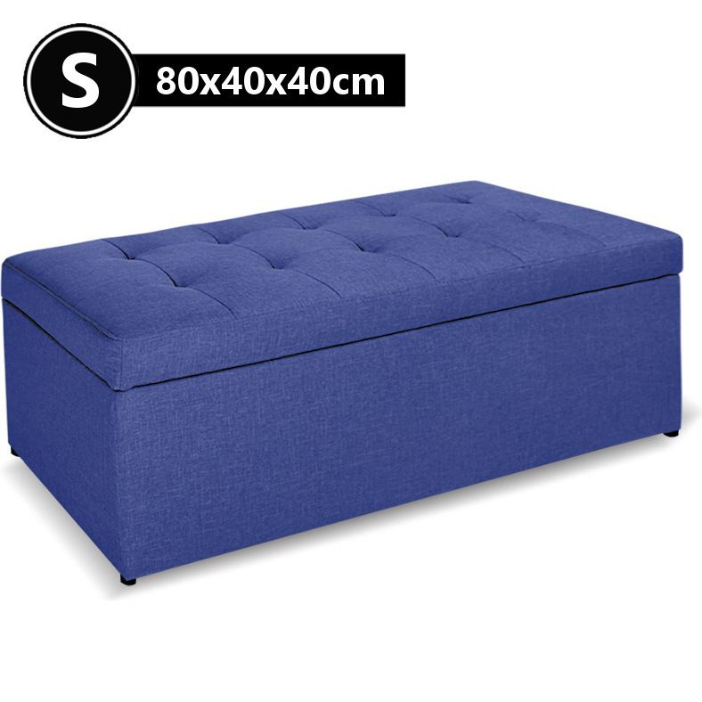 Small Faux Linen Tufted Storage Ottoman Blue 80cm | Buy Storage Ottomans