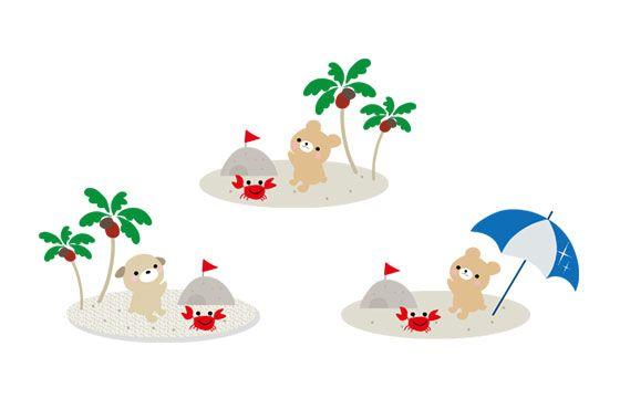 夏のビーチをテーマにしたフリーイラスト素材かわいい動物達が