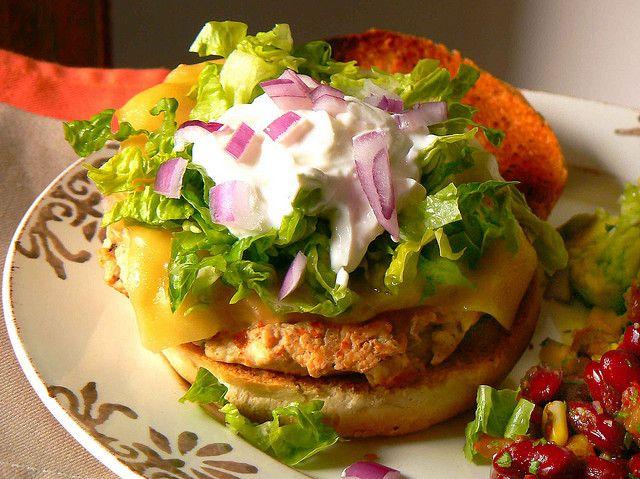 Mexican chicken burger with kidney bean salsa. Yum!