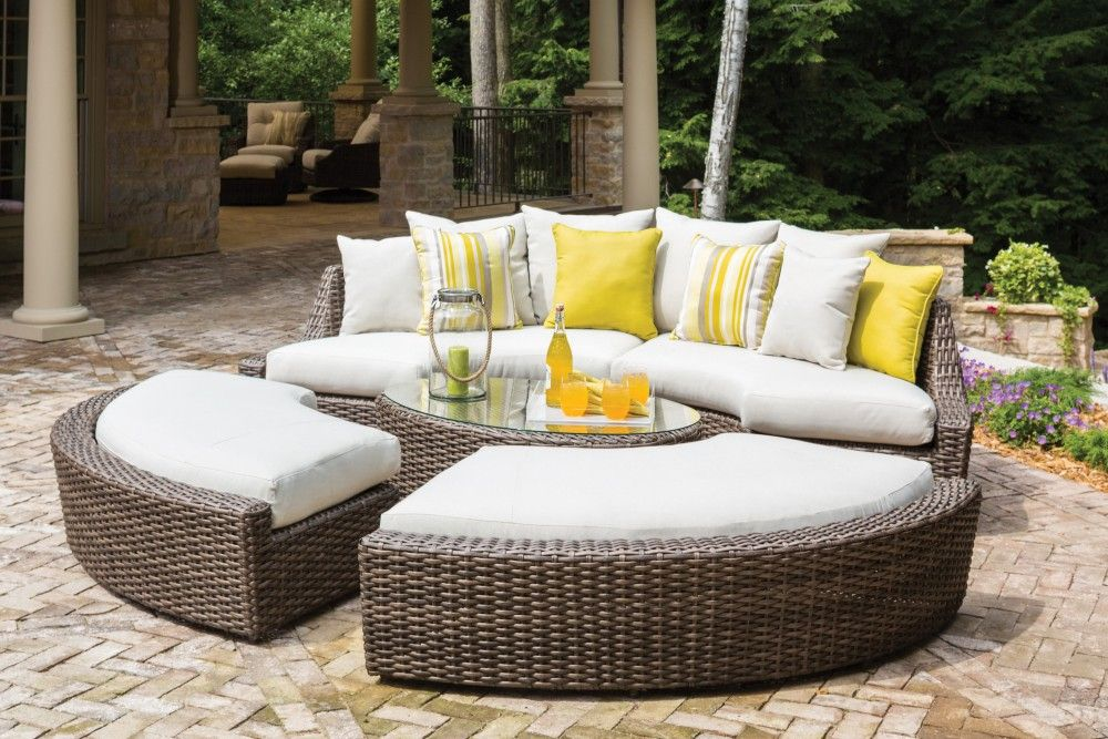 Largo Curved Benches Cocktail Table Left And Right Curved Sofa Sectionals Outdoor Furniture Lloyd Flanders Patio Furniture Fire Pit Coffee Table