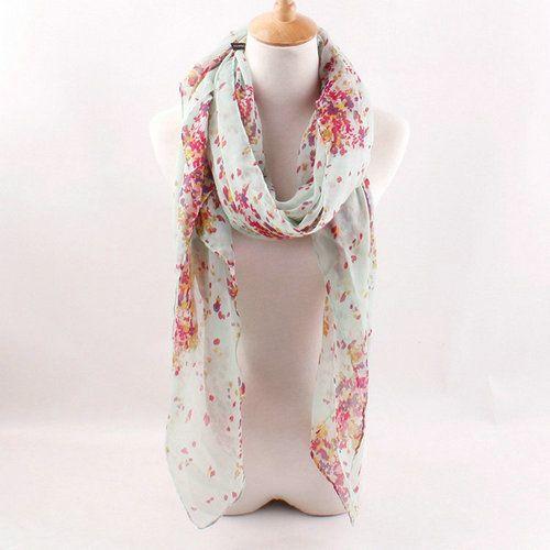 2014 primavera senhora cachecol novo Design Voile de algodão cachecol estilo de moda xale flor de cerejeira Floral impressão em Cachecóis de Roupas e Acessórios Femininos no AliExpress.com | Alibaba Group