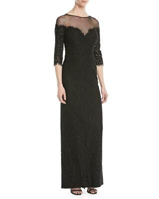 0c5ff3232914 Rickie Freeman for Teri Jon Designer Lace Illusion Column Gown ...