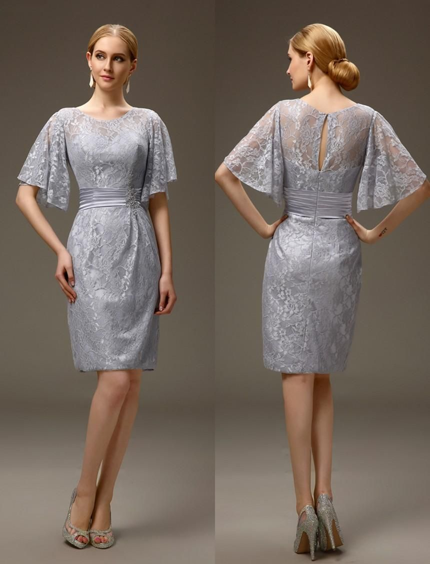 Silver Grey Short Casual Summer Sheath Lace Mother of the Bride ...