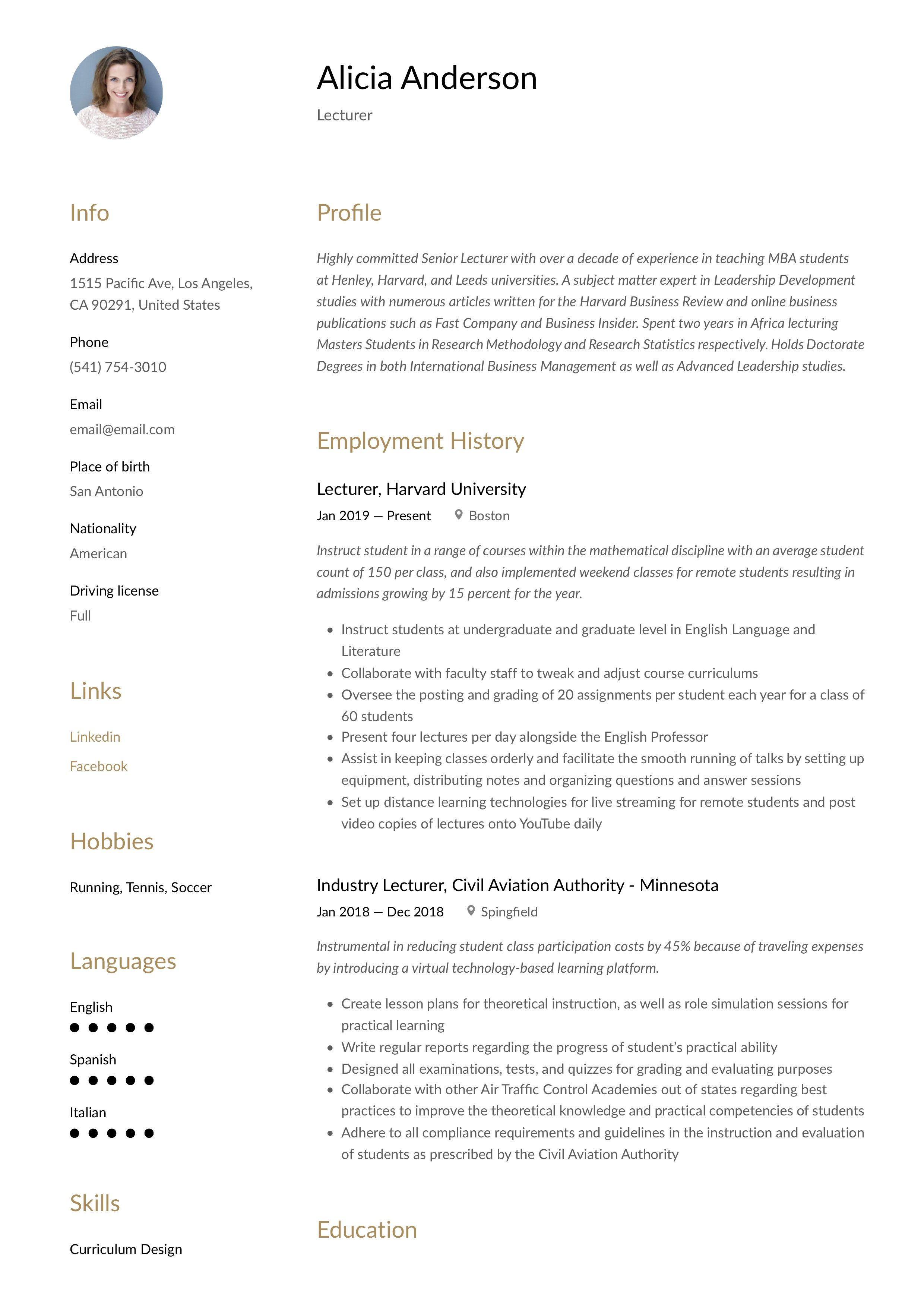Modern Lecturer Resume, template, design, tips, examples