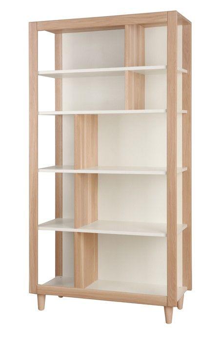 Natura Modern Scandinavian Bookcase In White Oak Mebel