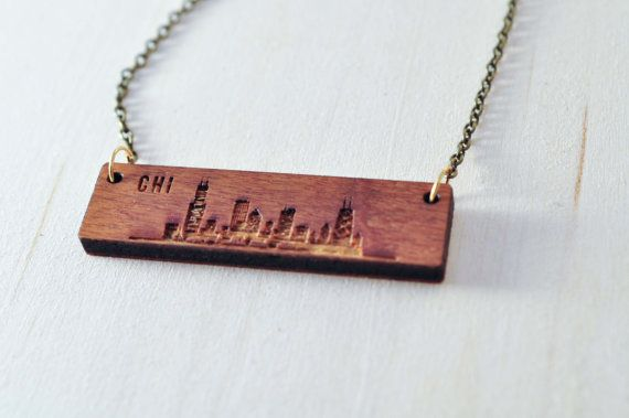 Chicago Skyline Wood Etch Necklace  | Chicago Skyline Gifts | Skyline Silhouette…