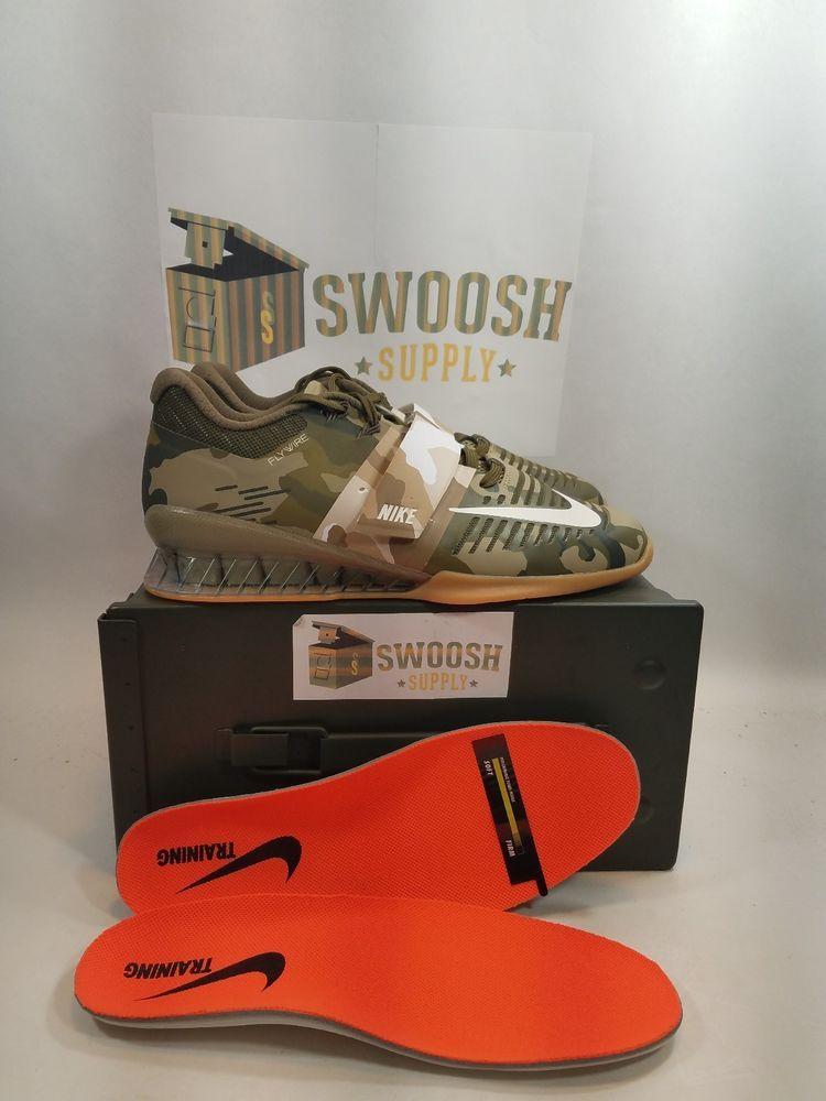 2abad99c4c48f4 Nike Romaleos 3 Weightlifting Training Shoes Camo Olive 852933-300 Size 7.5   Nike  WeightliftingShoes