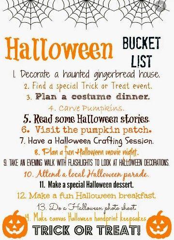 Things To Do Halloween Buckets Halloween Bucket List Halloween Movie Night