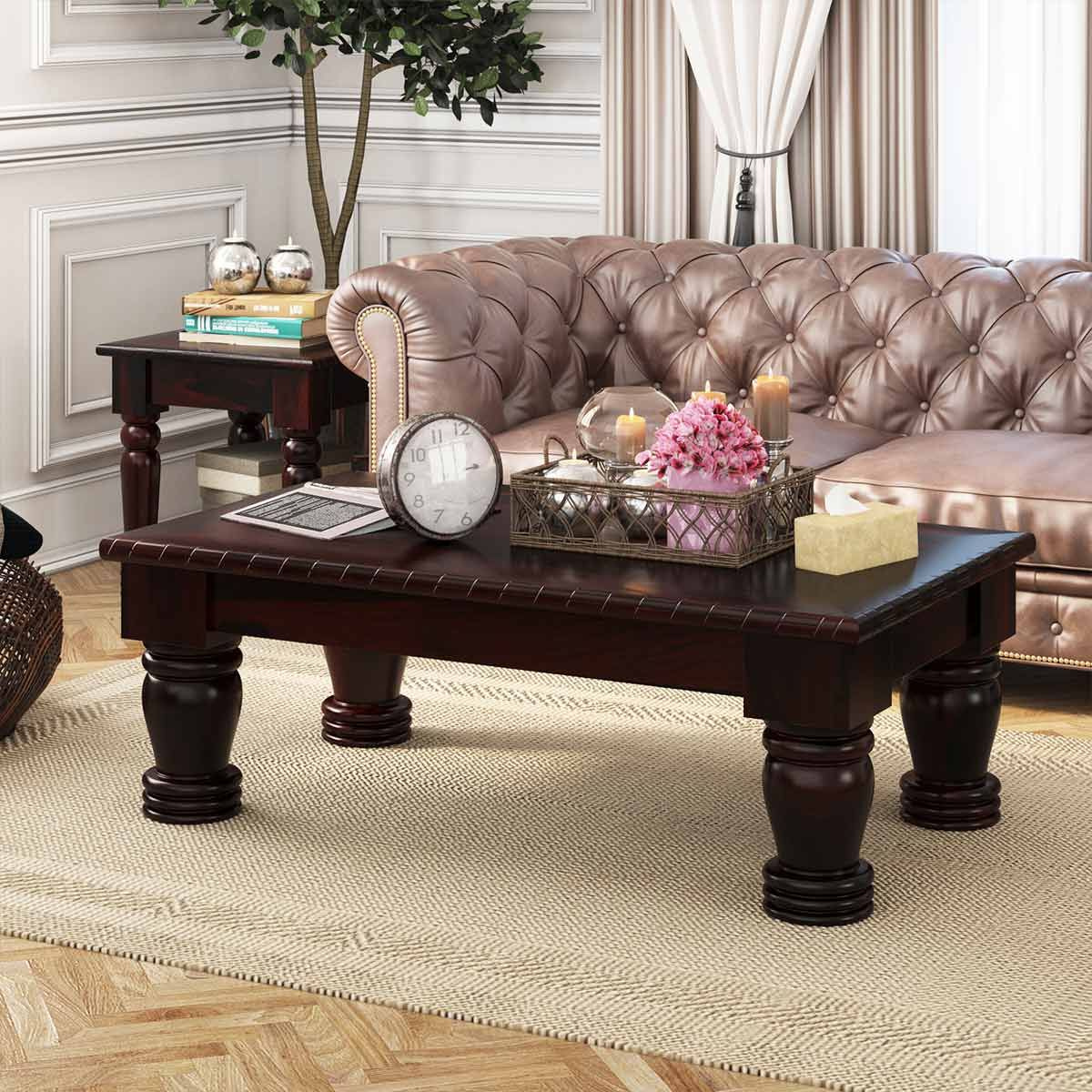 - Vallecito Country Style Rustic Solid Wood Large Coffee Table (With