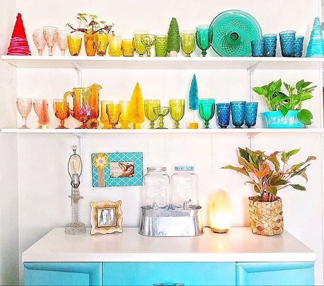 Photo of We love the look of these colorful glass bowls, plates, and cups as home decor! …