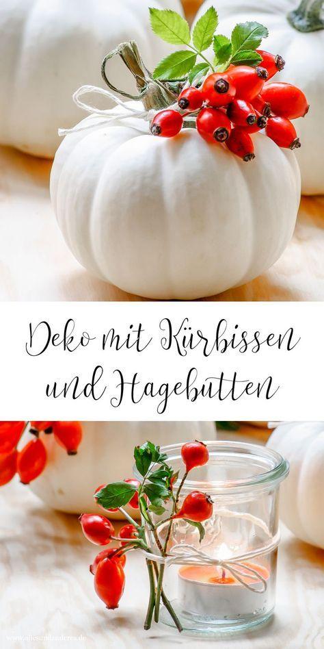 DIY Herbstdekoration mit Krbissen und Hagebutten