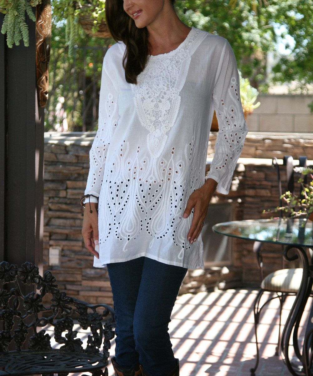 Look at this Ananda's Collection White Eyelet Embroidered Tunic on #zulily today!