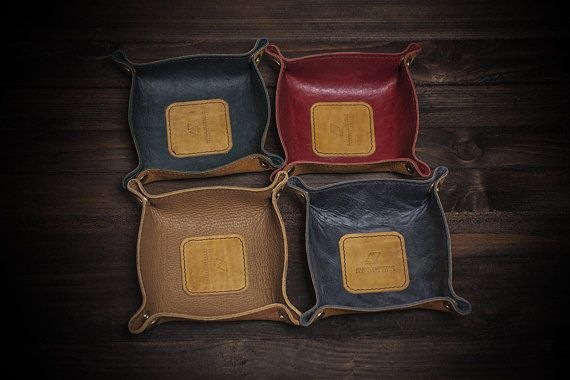 d2be16dcb0a4 Leather Anniversary Gift. Distressed Leather Tray.