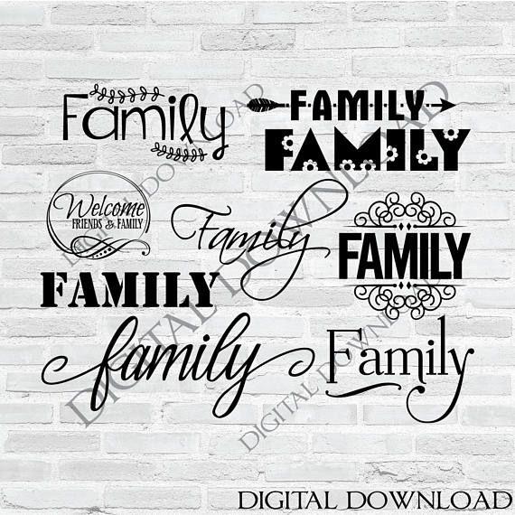 Vector Svg Clipart Quote Bundle Family Svg Set Family Stencil