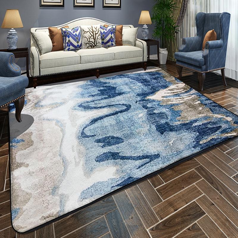 Blue Tan Abstract 4x6 Non Slip Padded Area Rug Living Room Carpet Bedroom Carpet Rugs On Carpet #standard #living #room #rug #size