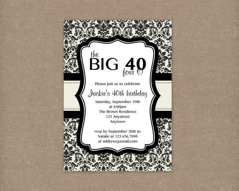 Custom printable cream and black damask 40th birthday party custom printable cream and black damask 40th birthday party invitation 1000 via etsy filmwisefo