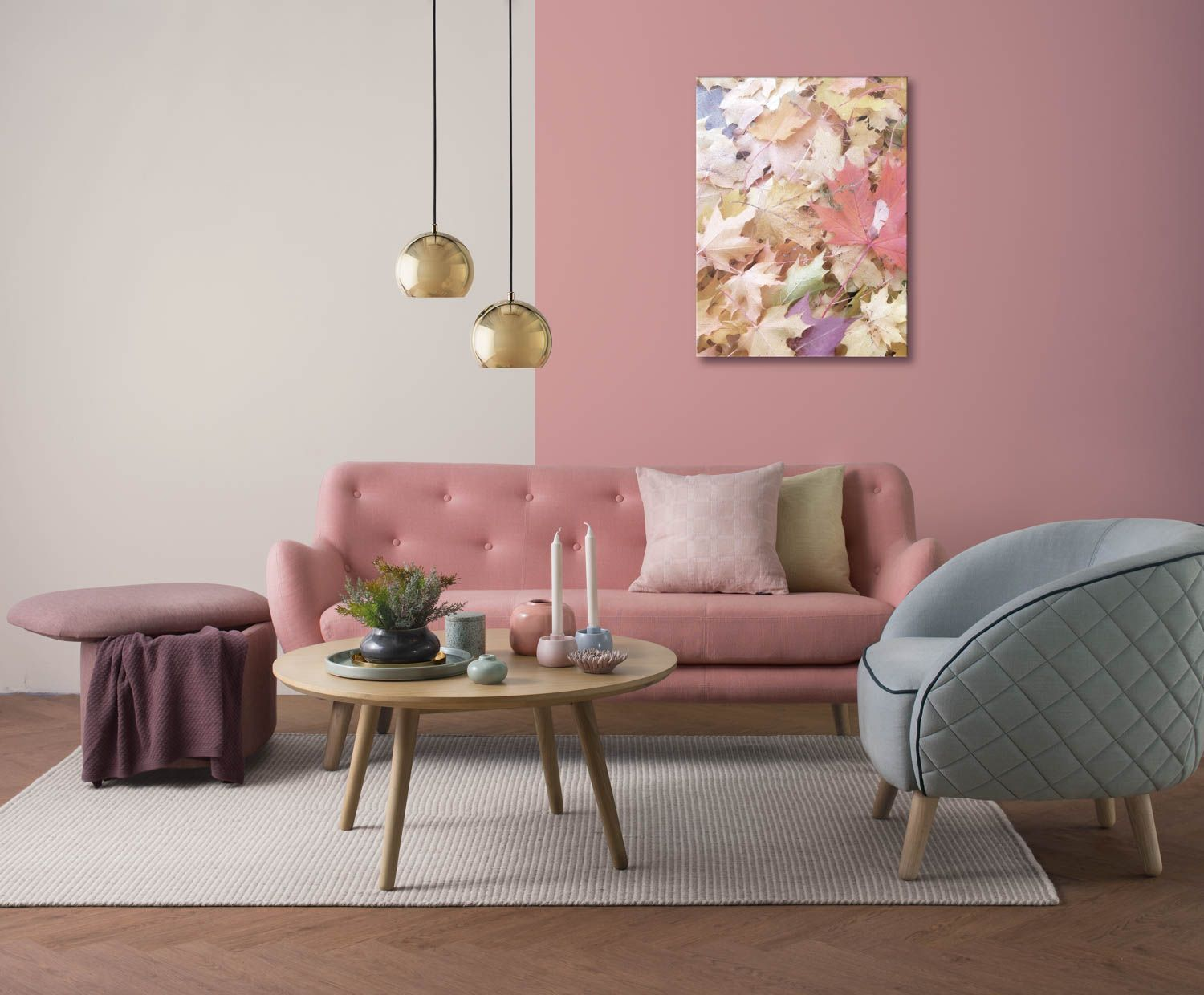 Pin by lina liu on l | Pink living room, Pink couch living ...