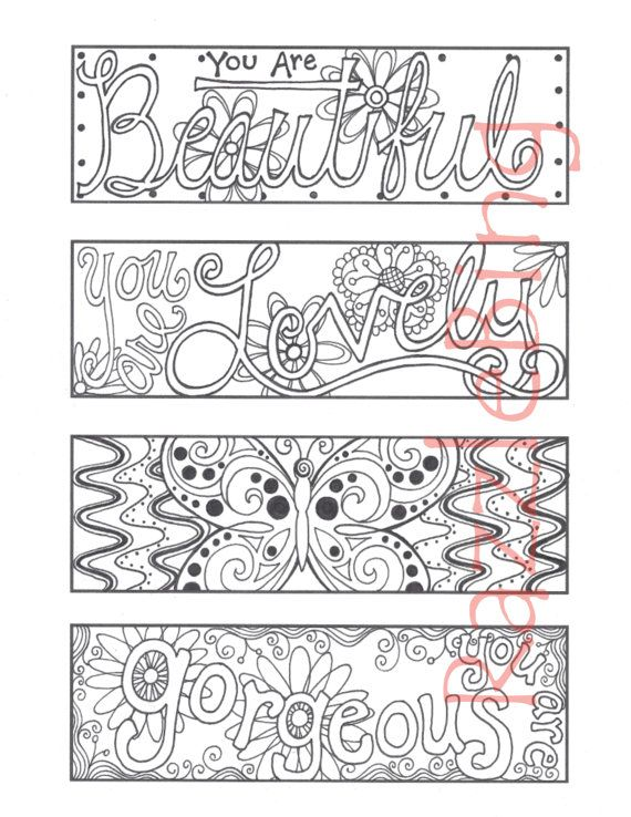 DIY Bookmark Printable Coloring Page Zentangle Inspired You Are Beautiful Zendoodle Doodle PDF Instant Download Inspiration Mothers Day