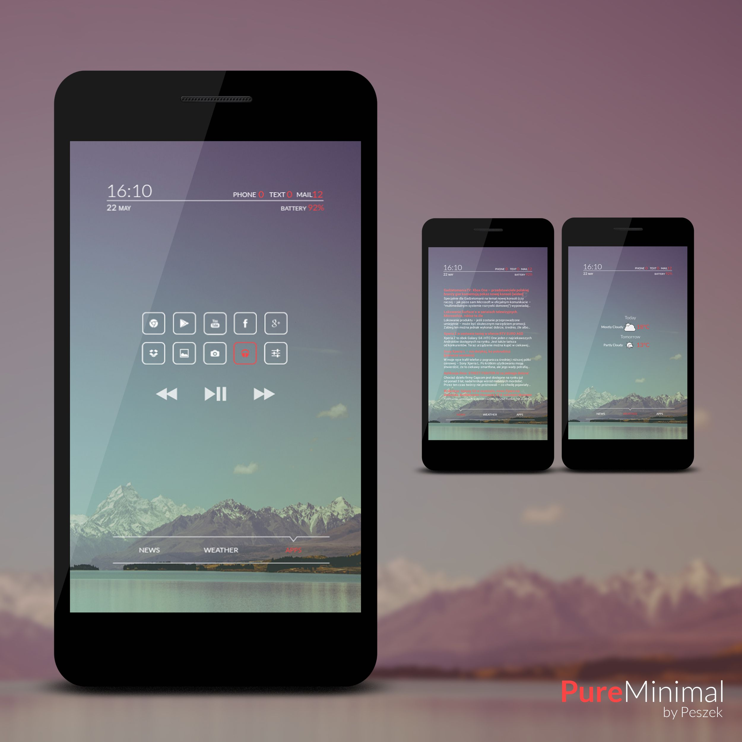Pure Minimal Android Homescreen By Peszek   MyColorscreen