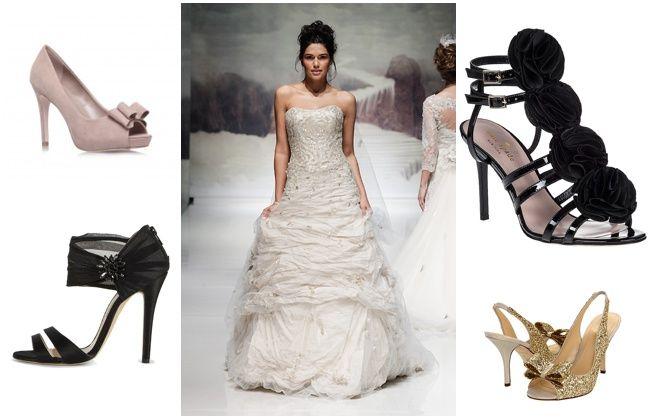 Shoe style inspiration: TL: Kurt Geiger TR: kate spade NY | BL: Oscar de la Renta  | BR: kate spade NY   Wedding Shoe Style Inspiration - Nu Bride